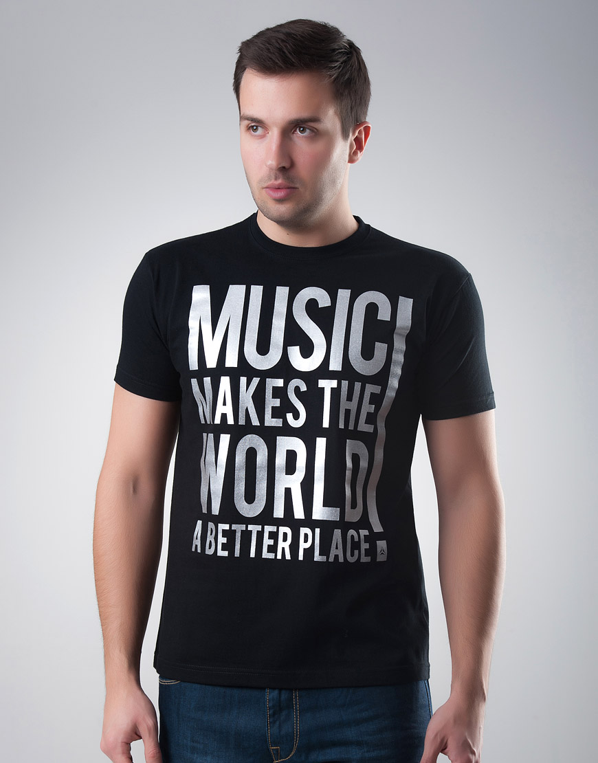 Music Makes The World Black T-shirt