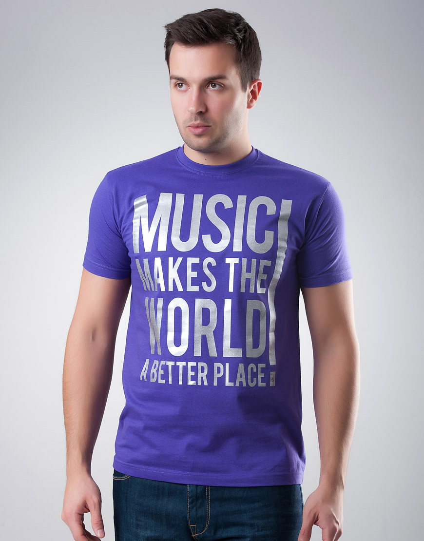 Music Makes The World Purple T-shirt